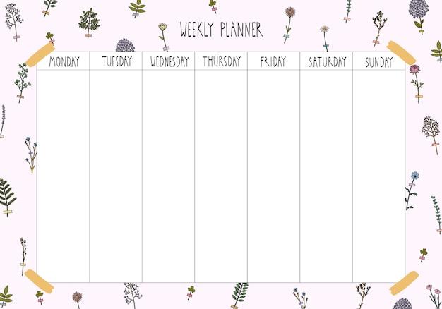 Modelo de planejador semanal em estilo mão desenhada. organizador e horário