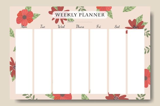 Modelo de planejador semanal floral vintage desenhado à mão para impressão