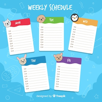 Modelo de planejador semanal fofo com design colorido