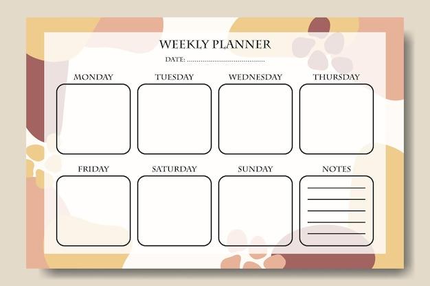 Modelo de planejador semanal rosa amarelo pastel forma para impressão