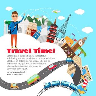 Modelo de planejamento de viagens pelo mundo e férias de verão