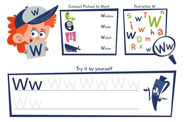 Modelo de planilha de letra w