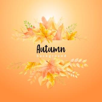 Modelo de plano de fundo bonito grinalda de folhas de outono em aquarela