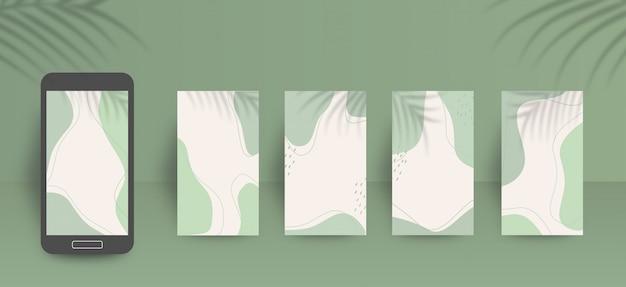 Modelo de plano de fundo bonito histórias de mídia social com cores verdes suaves