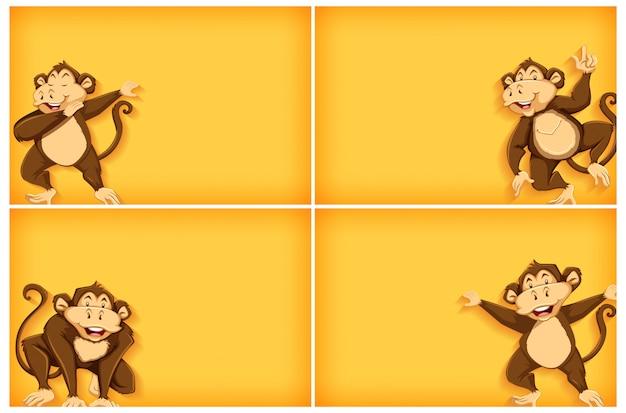 Modelo de plano de fundo com cor lisa e macaco