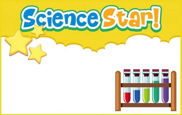 Modelo de plano de fundo com estrela ciência ciência e equipamentos de laboratório