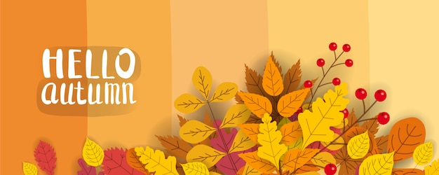 Modelo de plano de fundo com folhas caindo