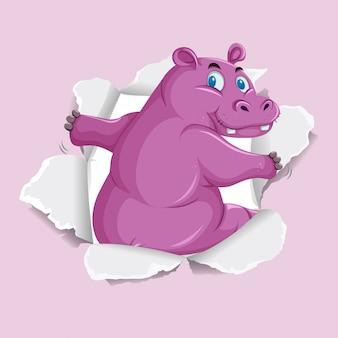 Modelo de plano de fundo com hipopótamo selvagem