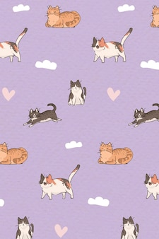 Modelo de plano de fundo com padrão de amante de gatos