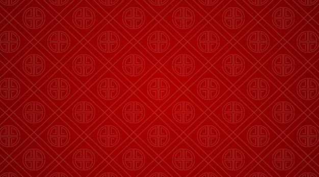 Modelo de plano de fundo com padrões chineses em vermelho