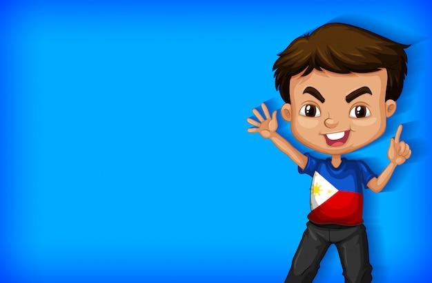 Modelo de plano de fundo com parede de cor lisa e menino feliz