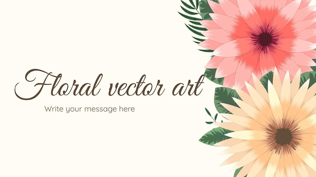 Modelo de plano de fundo com quadro floral lindo com flores suaves e folhas de ramos de texto local