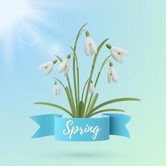 Modelo de plano de fundo da primavera com flores snowdrop.