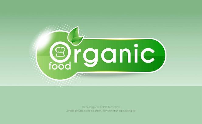 Modelo de plano de fundo de alimentos orgânicos com rótulo verde