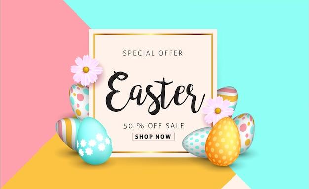 Modelo de plano de fundo de banner de venda de páscoa com lindas flores coloridas da primavera e ovos.
