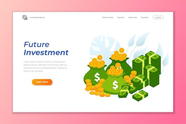 Modelo de plano de fundo de banner de web de investimento