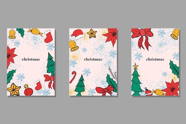 Modelo de plano de fundo de cartão de natal com elemento desenhado à mão