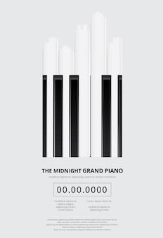 Modelo de plano de fundo de cartaz de piano de cauda de música