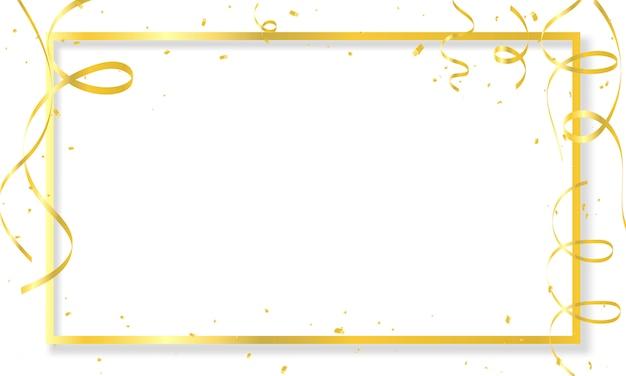 Modelo de plano de fundo de celebração com confete ouro fitas frame
