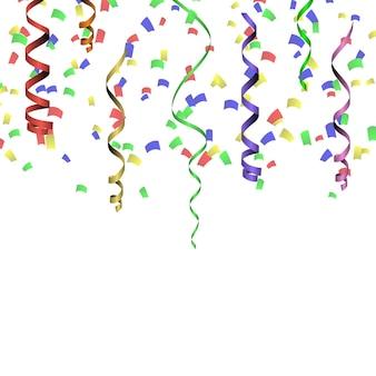 Modelo de plano de fundo de celebração com confetes coloridos e fitas