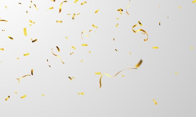 Modelo de plano de fundo de celebração com fitas de confete de ouro.