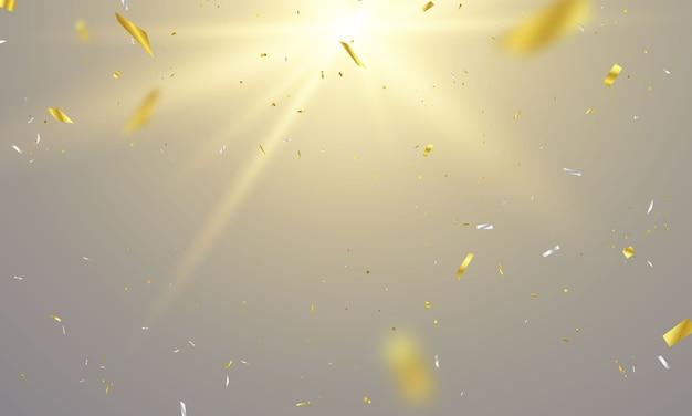 Modelo de plano de fundo de celebração com fitas de confete ouro. luxo rico cartão de saudação.
