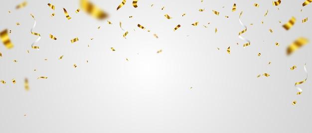 Modelo de plano de fundo de celebração com fitas de confete ouro.