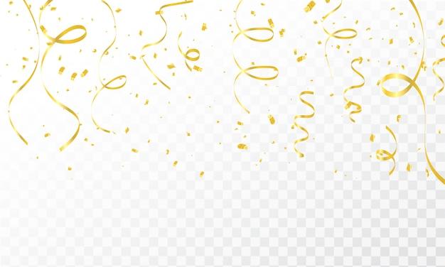 Modelo de plano de fundo de celebração com fitas de ouro de confete