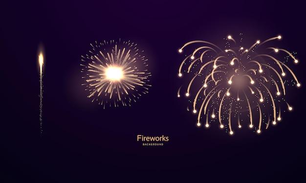 Modelo de plano de fundo de celebração com ouro de fogos de artifício. cartão rico de saudação de luxo.