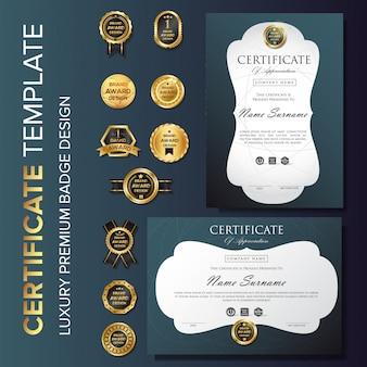 Modelo de plano de fundo de certificado com distintivo
