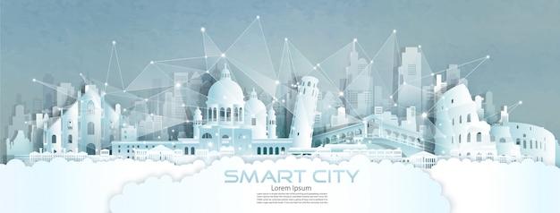 Modelo de plano de fundo de cidade inteligente de monumentos famosos de corte de papel