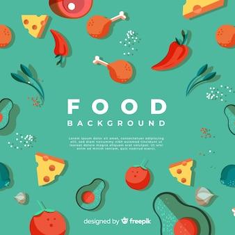 Modelo de plano de fundo de comida desenhada de mão