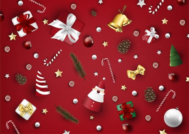 Modelo de plano de fundo de elementos knolling feliz natal