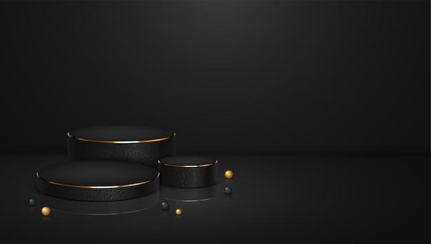Modelo de plano de fundo de exibição de produto em pódio com textura preta e dourada