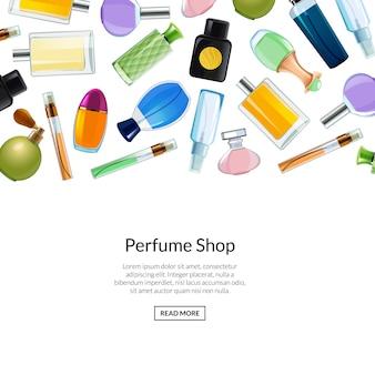 Modelo de plano de fundo de frascos de perfume