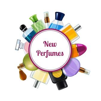 Modelo de plano de fundo de grinalda de frascos de perfume