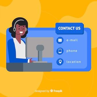 Modelo de plano de fundo de informações de contato de mão desenhada