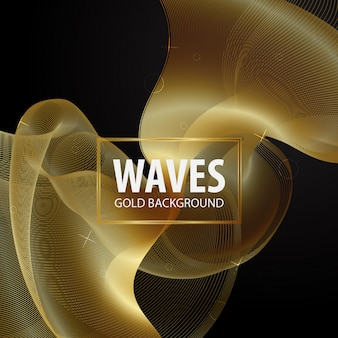 Modelo de plano de fundo de onda dourada