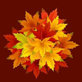 Modelo de plano de fundo de outono com cacho de folhas caindo, venda ou sazonal