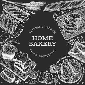 Modelo de plano de fundo de pão e pastelaria