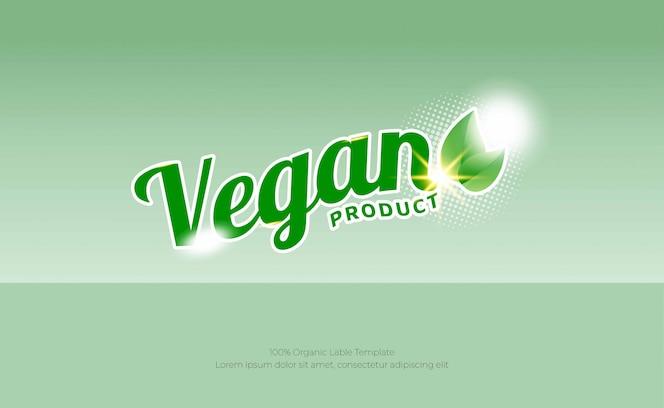Modelo de plano de fundo de produto vegano de folha verde