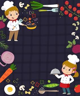 Modelo de plano de fundo de publicidade em conceito de cozinha com dois chefs de criança.