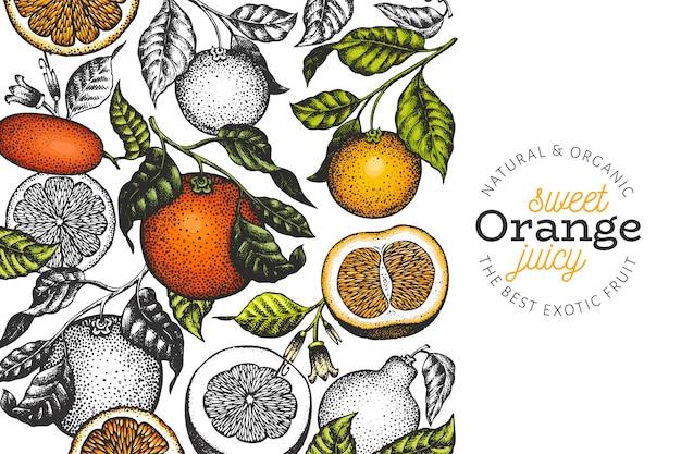 Modelo de plano de fundo de ramos laranja
