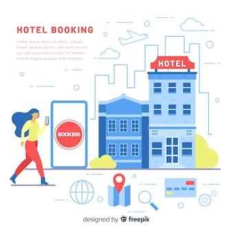 Modelo de plano de fundo de reserva de hotel