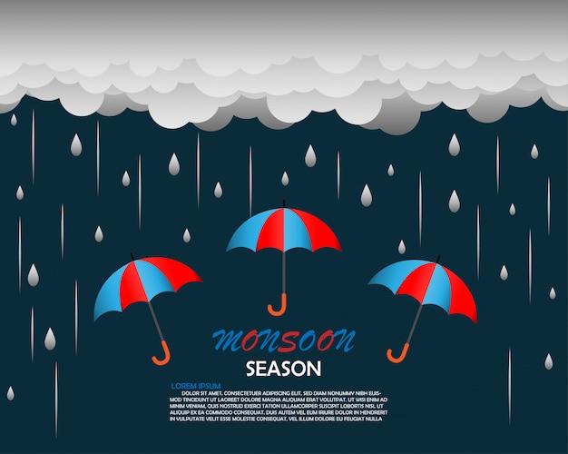Modelo de plano de fundo de temporada de monções