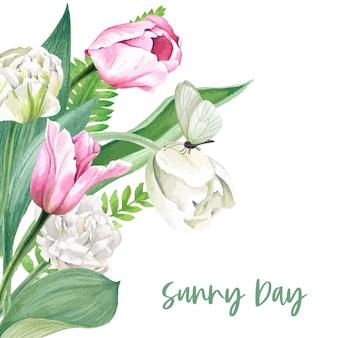Modelo de plano de fundo de tulipas rosa e brancas desenhado à mão