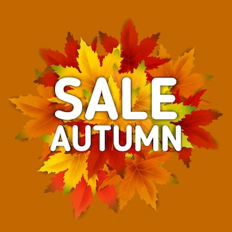 Modelo de plano de fundo de venda de outono com cacho de folhas caindo, venda de compras ou cartaz sazonal