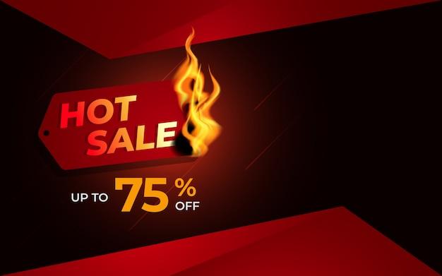 Modelo de plano de fundo de venda quente com etiqueta ardente