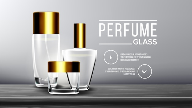Modelo de plano de fundo de vidro cosmético