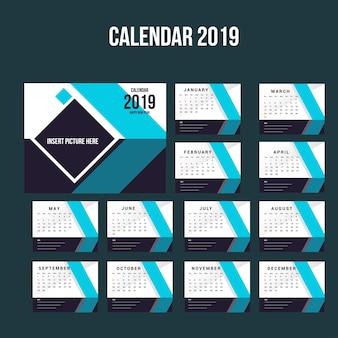 Modelo de plano de fundo do calendário de mesa 2019